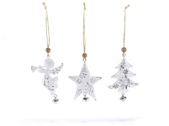 Christmas decorations in white metal to hang