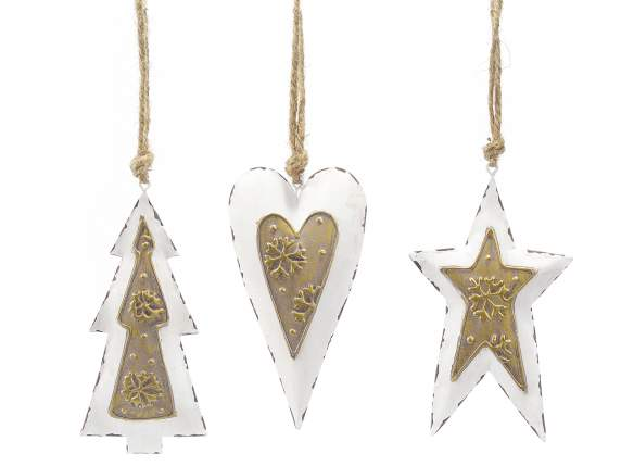 Hanging Christmas decorations in white and golden metal