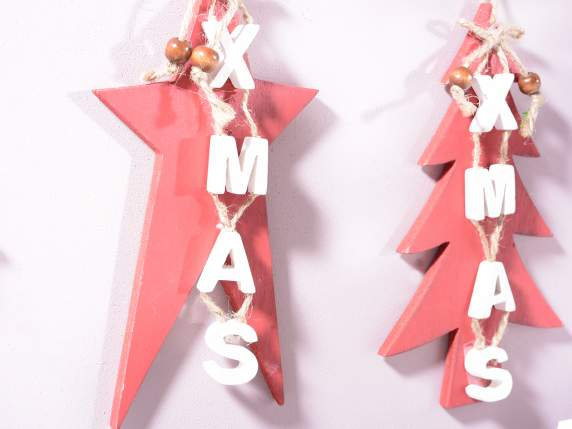 Christmas decorations in red wood to hang