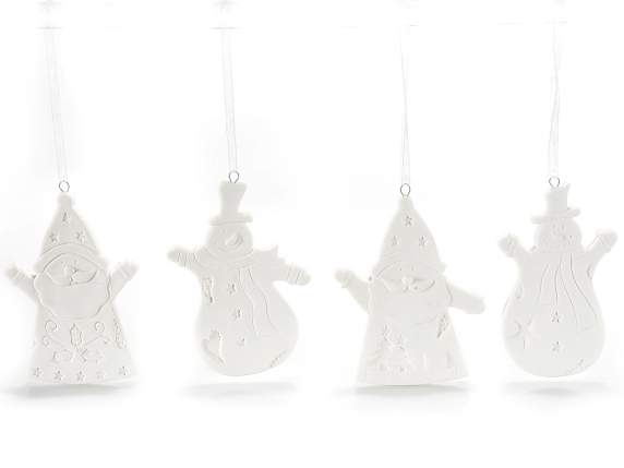 Hanging porcelain Santa Claus and snowman