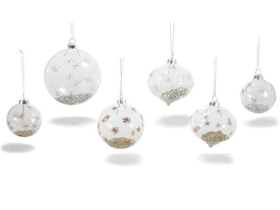 Glass balls to hang with silver-gold decoration