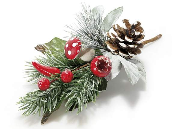 Decorative Christmas bouquet w-fir cone, berry  and chilli