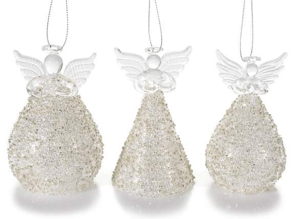 Christmas glass angels champagne color to hang