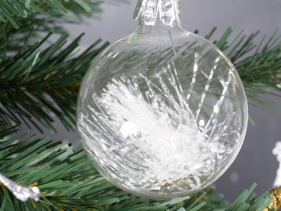 Xmas glass balls with natural decorations