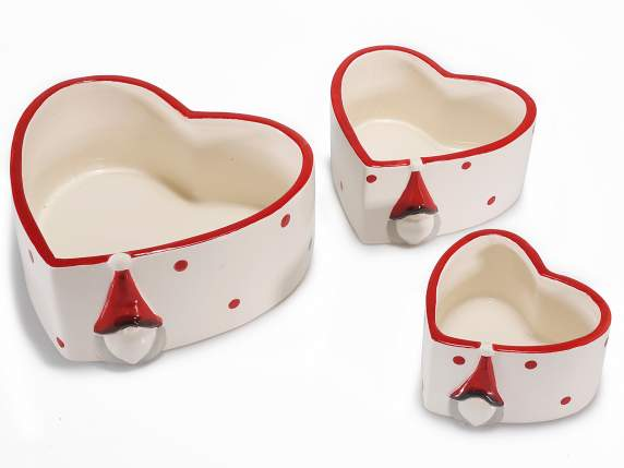 Set 3 Christmas vase shaped heart