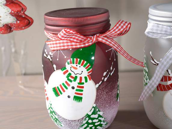 Bright jars in coloured glass w-snowman