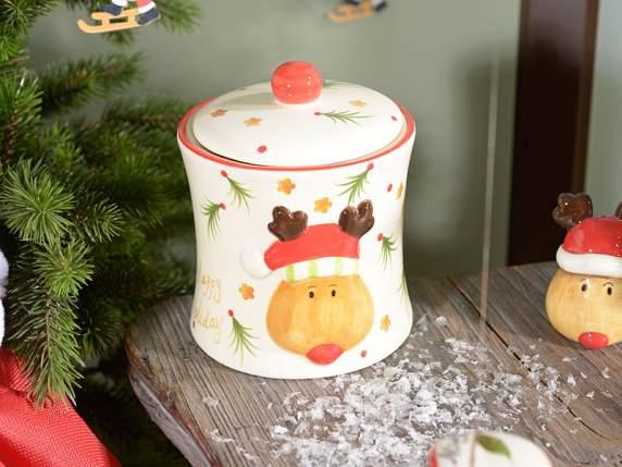 Happy Holiday Xmas jar in ceramic