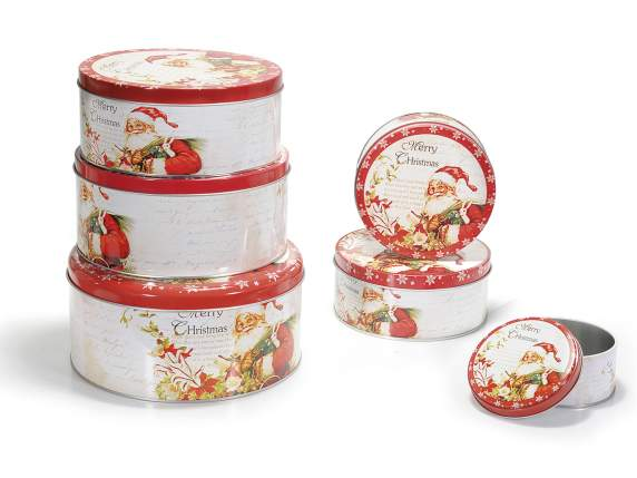 Set 6 round Xmas metal boxes with decorations