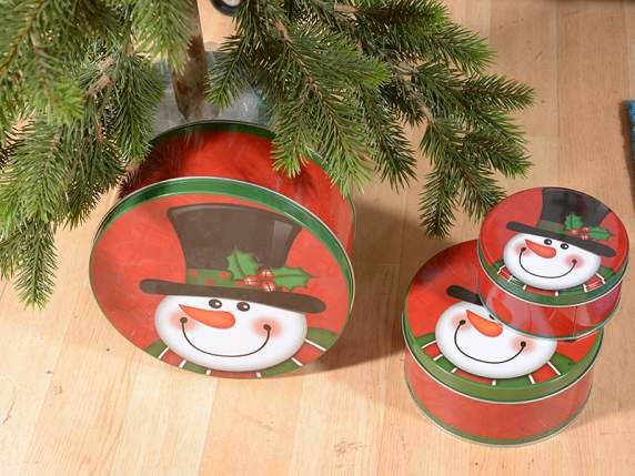 Set 3 round metal boxes with snowman