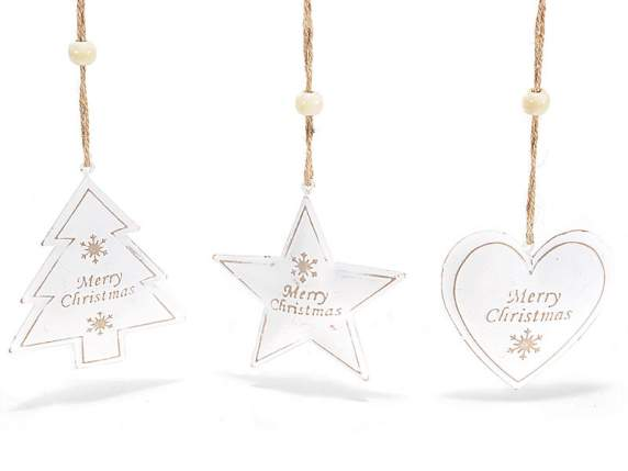 Metal white decorations with Merry Christmas sign