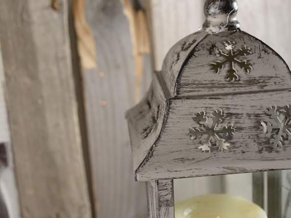 Metal and glass candle holder lantern with decoration