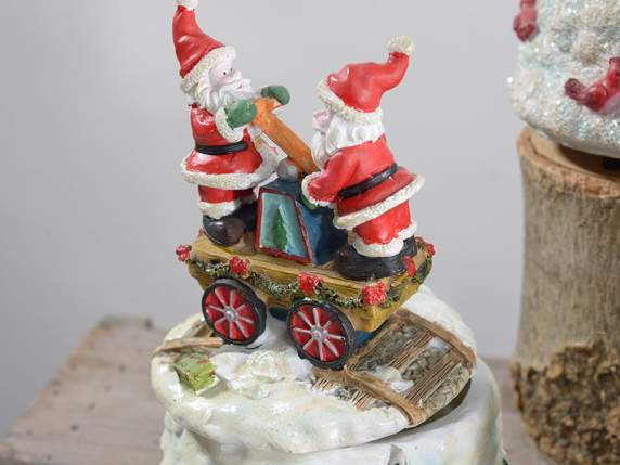 Polyresin music box w-Christmas subject and glitter