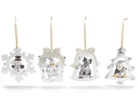 Christmas hanging decorations in resin - silver color