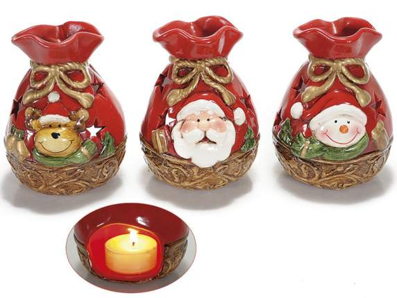Gift bag shaped tealight holder in ceramic