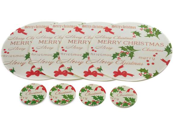 Conf.4 underplates and 4 coaster with Xmas deco