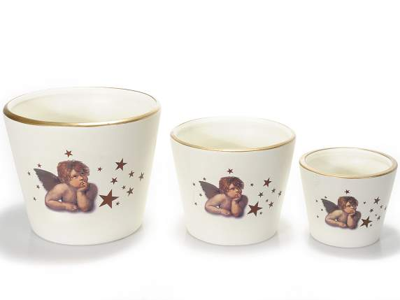 Set 3 ceramic vessels with printed angel