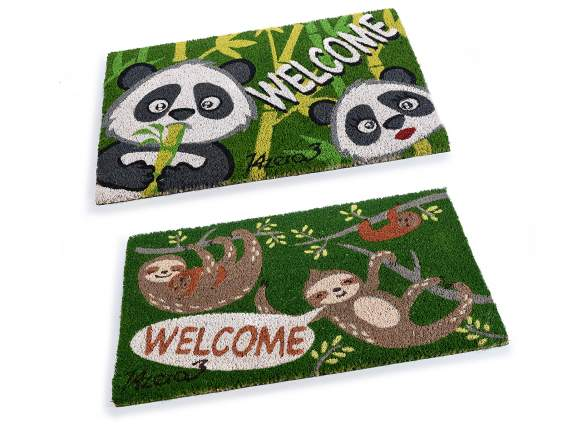 Zerbino Welcome decori Panda e Bradipo con base antiscivolo