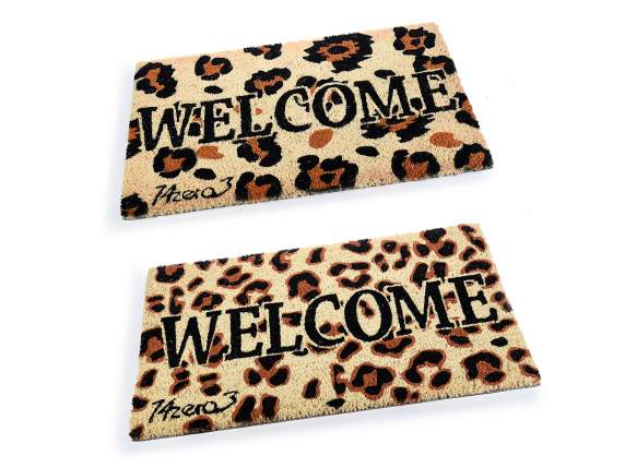 Zerbino scritta Welcome c/design Animalier base gomma