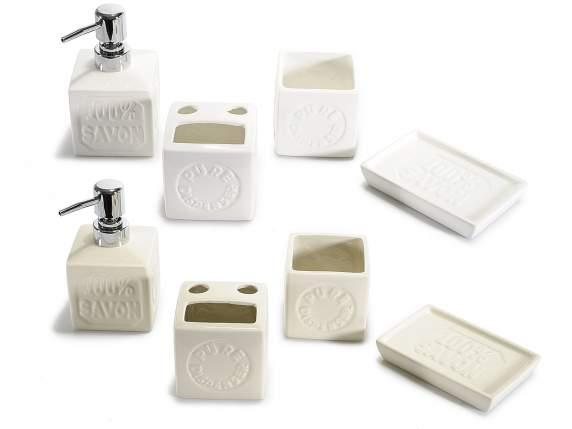 Set 4 accessori da bagno in ceramica c decorazione a sapone art from italy - Accessori bagno in ceramica ...
