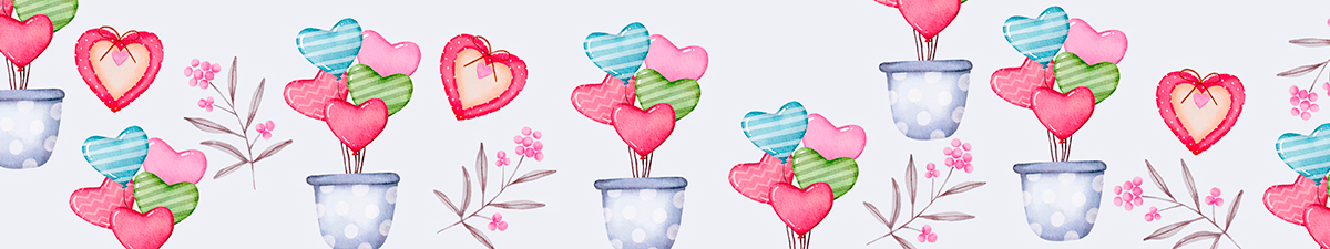 Valentine's day potteries and flower pots
